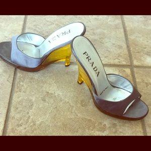 PRADA Wedge Dark Silver Satin Shoes